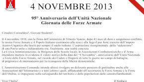 Ricorrenza della festa del 4 novembre 2013 a Corinaldo. Il programma